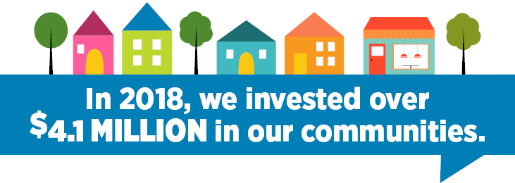 In 2018, we invested over 4.1 million dollars in our communities